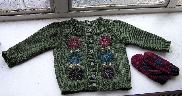 Girl's cardigan and mittens by Jen L., via Flickr