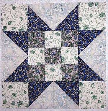 ~ Evening Star Quilt Block with Nine-Patch Centers
