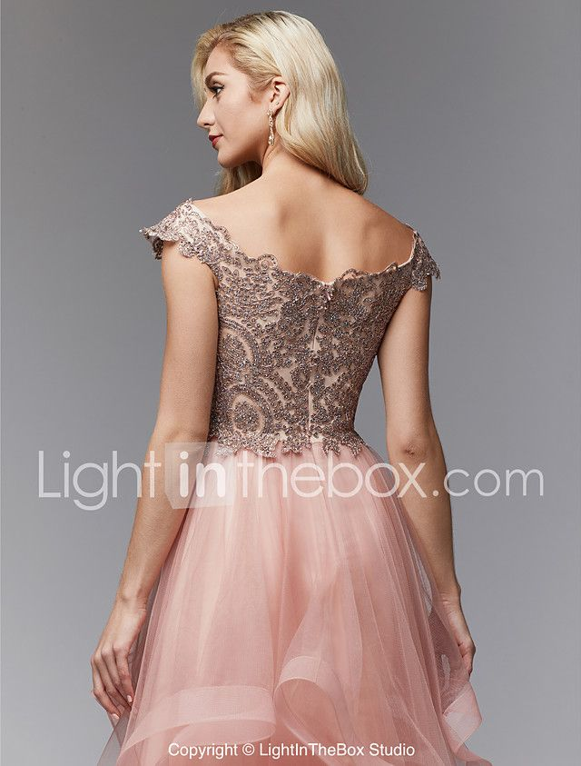 A-Line Queen Anne Floor Length Lace   Tulle Sparkle   Shine   Open Back dbdfe58a6