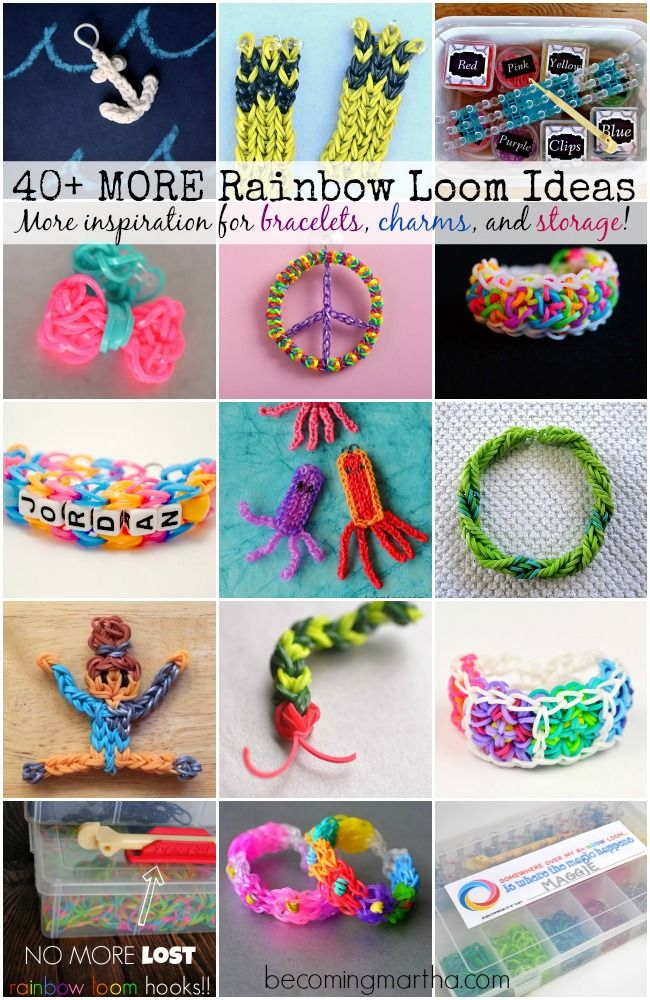 Why am i pinning this?!?!?40+ Rainbow Loom Ideas - Bracelets, Charms, Storage, and more!