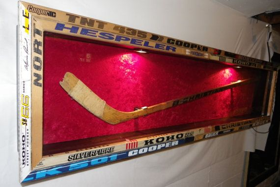 Custom NHL hockey stick display case made by legendglassdesigns