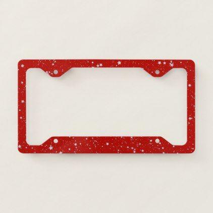 Glitter Stars Silver Red License Plate Frame Zazzle