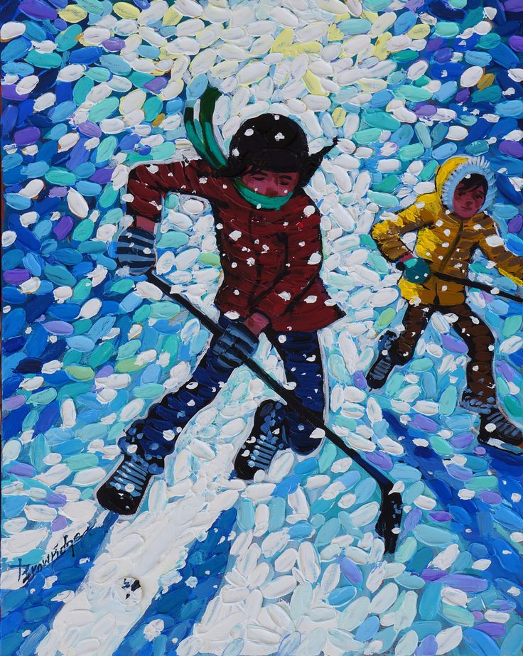 'Stick Handling in Snow' by Bill Brownridge, 2013, acrylic  at Mayberry Fine Art