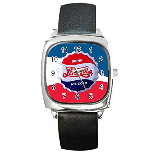 New Wrist Watches XDWL015 New Design PEPSI COLA Square Metal Watch Leatherban d >>> Visit the image link more details.(This is an Amazon affiliate link and I receive a commission for the sales)