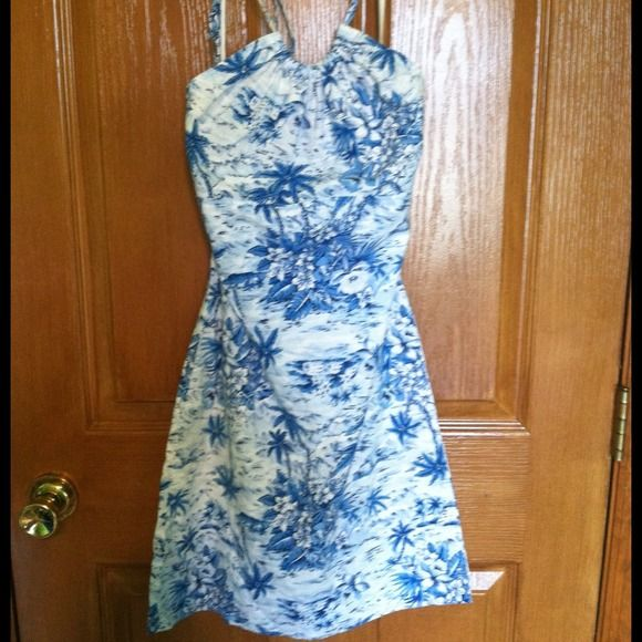 Aqua Blues tropical dress Blue and white halter dress with tropical patterns. Great for summer! Aqua Blues Dresses