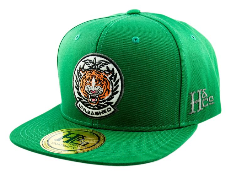 H&CO Collection. Unleashed Tiger Adjustable Snapback Caps made from 100% Cotton in Kelly Green. Undervisor in Grey.