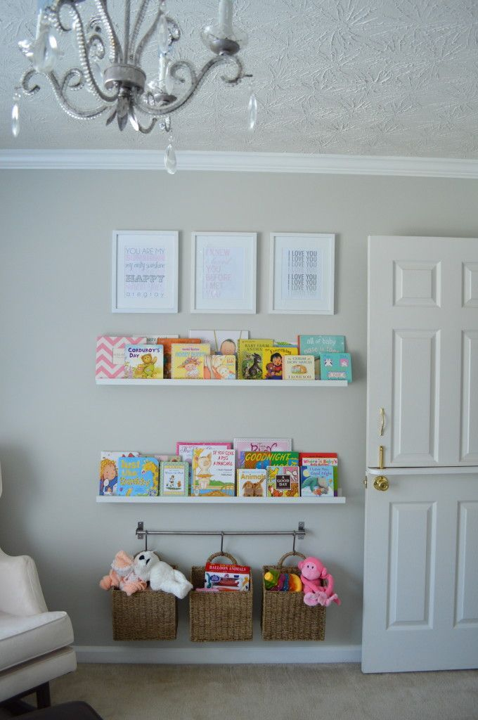 Organization wall book shelves and hanging baskets kids for Hampers for kids rooms