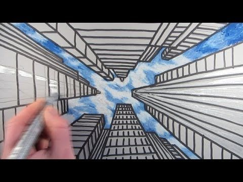 How to Draw Buildings and Skyscrapers using One Point Perspective to create the illusion of looking up at the tall buildings in a City. A simple step by step art video.