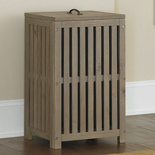 Contemporary Highlands Clothes Hamper Made w/ Solid Pine Wood in Driftwood Finish 15.75W x 13.75D x 25.5H in.
