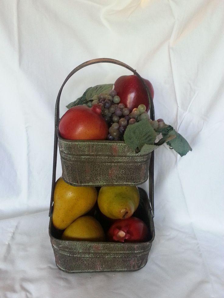 Rustic Farmhouse 2 Tier Square Garden Fruit Basket Kitchen Bath Handled Storage Tote