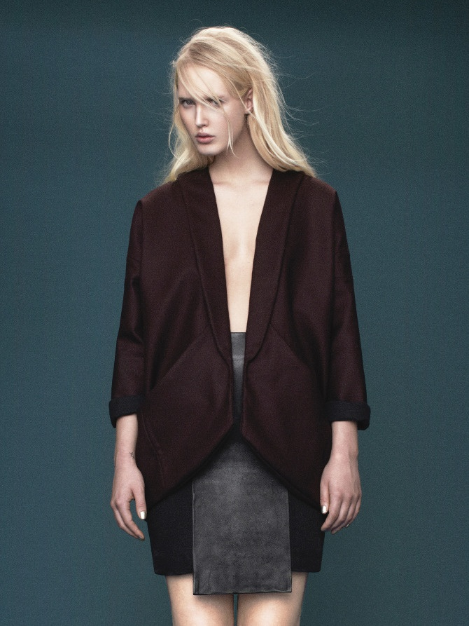 Design: Maria Carstens // Wool coat and skirt in leather and wool