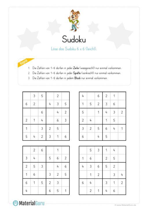 kostenloses sudoku r tsel f r kinder im raster 6x6 leicht jetzt gratis downloaden personal. Black Bedroom Furniture Sets. Home Design Ideas