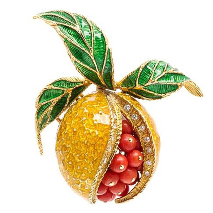 Coral Polychrome Enamel Diamond Gold Pomegranate Brooch | From a unique collection of vintage brooches at https://www.1stdibs.com/jewelry/brooches/brooches/