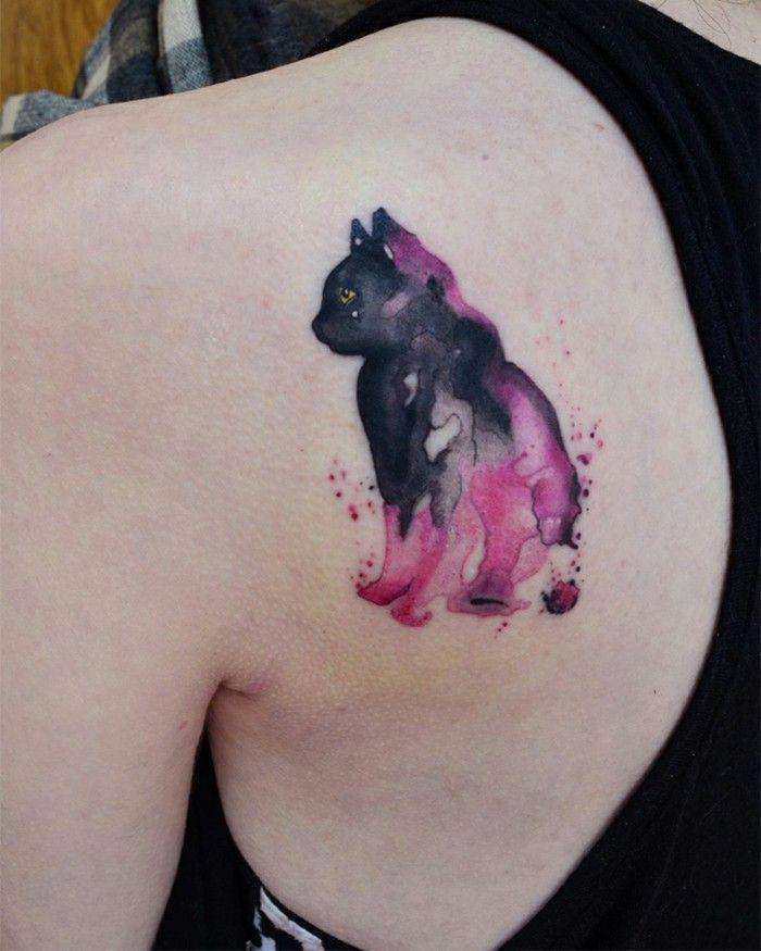 Katzen Watercolor Tattoo Schulter Mit Bildern Aquarell Tattoo