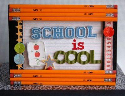 "Adorable teacher gift idea. ""School Is Cool"" framed decor by Teri Anderson for Creating Keepsakes magazine. #backtoschool #scrapbook #scrapbooking #creatingkeepsakes"