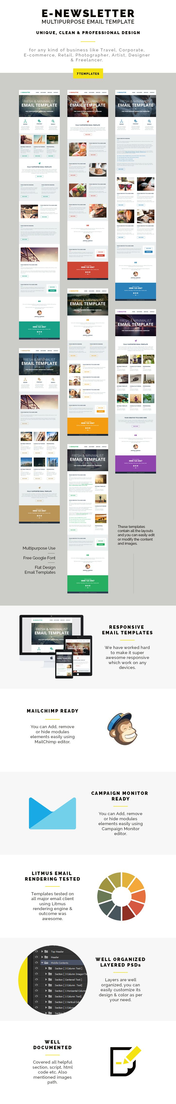 The E-Newsletter – Multipurpose Responsive Email Template comes with 7 different premade templates. There are 4 folders inside the tempaltes folder named 'HTML, 'Mailchimp', 'Campaign Monitor. & PSD.These templates contain all the layouts and you can easily edit or modify the content and images.