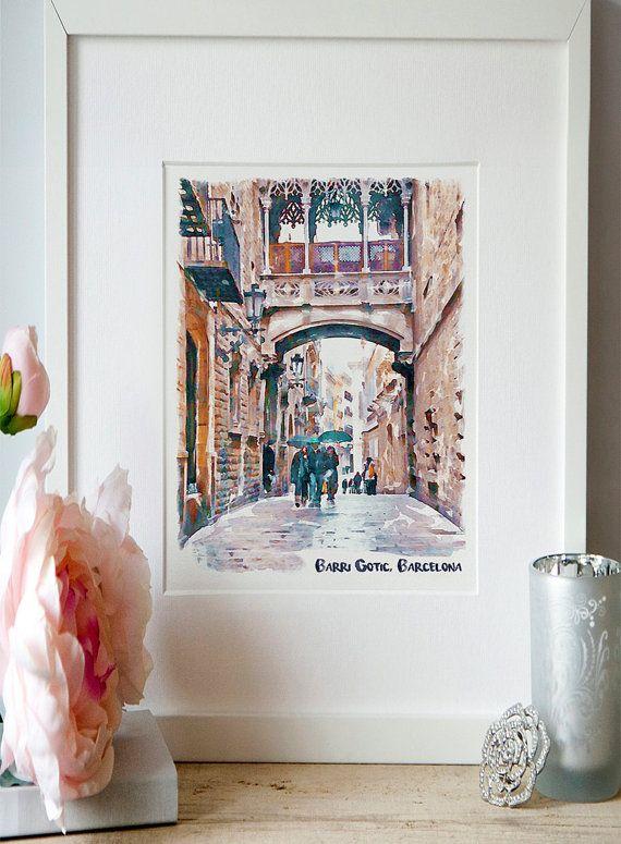 Carrer del Bisbe Barri Gotic Barcelona Watercolor by Artsyndrome