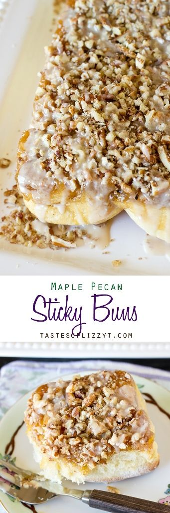 Maple Pecan Sticky Buns >> by Tastes of Lizzy T's. Maple Pecan Sticky Buns are swirled with cinnamon, drenched with maple syrup and topped with pecans and a maple syrup glaze. Serve these to your family for breakfast or give them as a gift this holiday season.