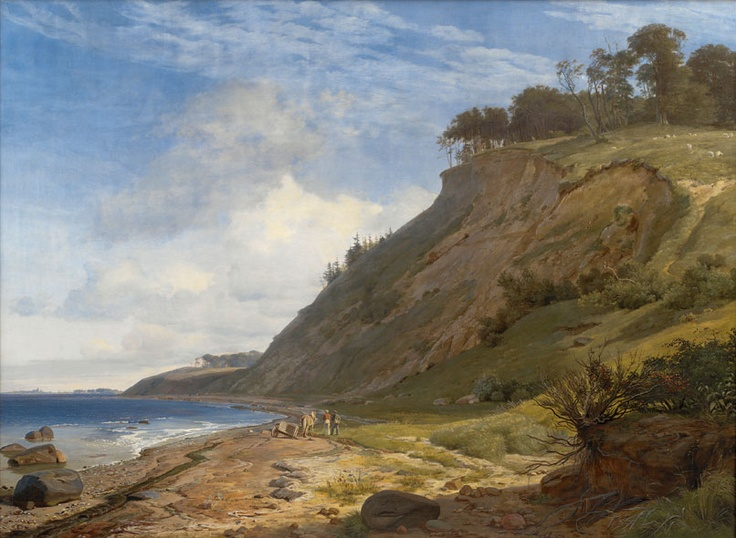 Johan Thomas Lundbye - A Danish Coast. View from Kitnæs by the Roskilde Fjord, 1842-43, Oil on canvas, 188.5 x 255.5 cm