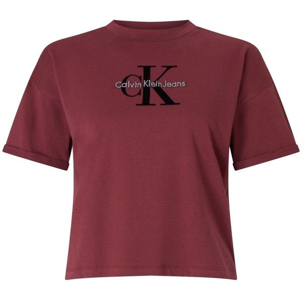 Calvin Klein Teco-11 Cropped Logo T-Shirt ($59) ❤ liked on Polyvore featuring tops, t-shirts, shirts, t shirt, short sleeve t shirt, t shirts, short sleeve tee, round neck t shirts and cropped shirts