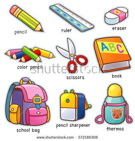 Vector illustration of Cartoon Back to school vocabulary