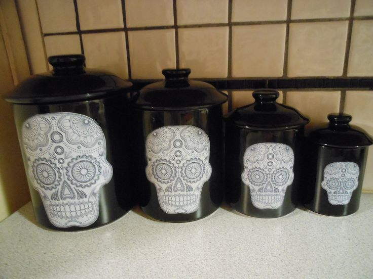 i picked your dream home theme Sugar Skulls | Sugar Skull Canister Set by TongueinCheeky on Etsy