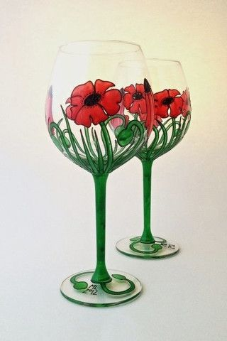 Toasted Glass - Poppies wine goblets