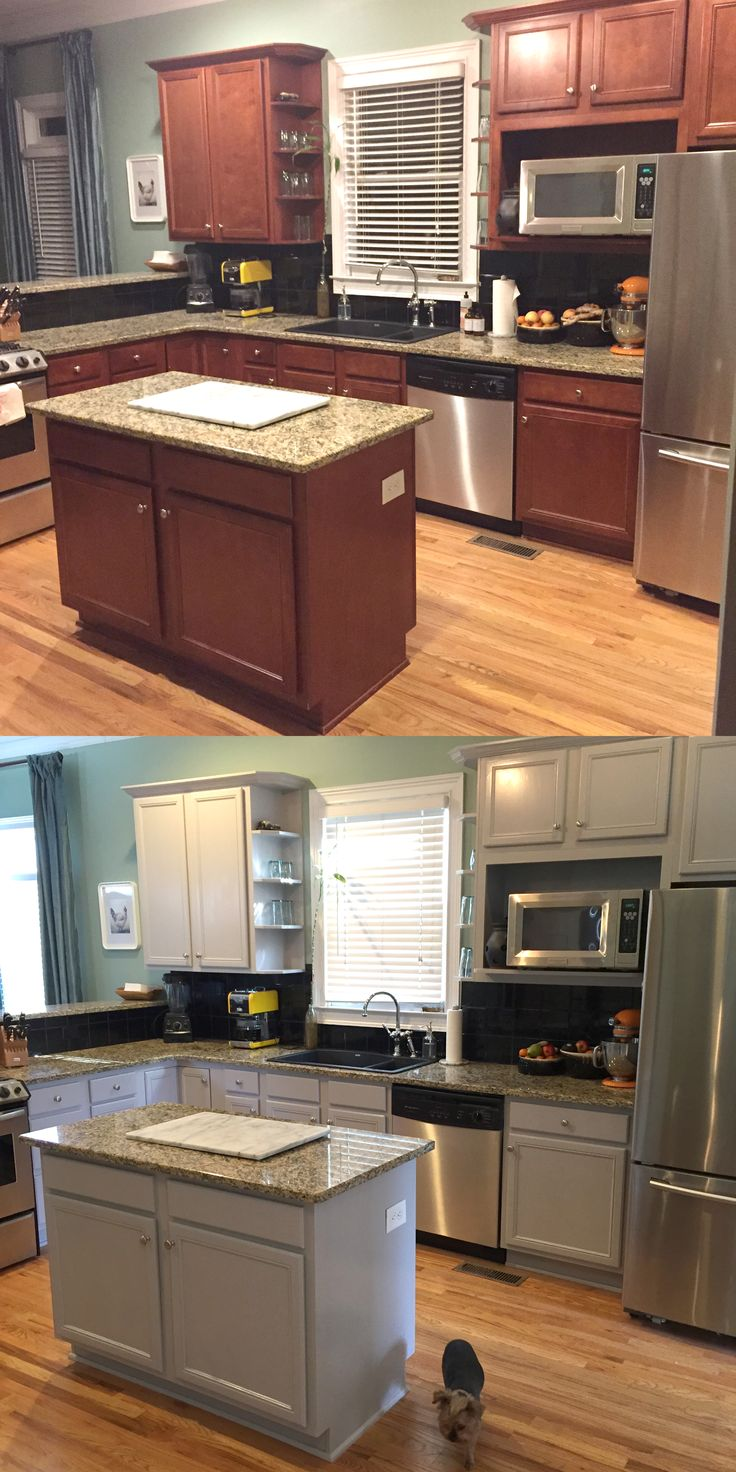 Kitchen Before and After Benjamin Moore Baltic Grey Kitchen Cabinets Painted Cabinets #benjaminmoore #balticgrey