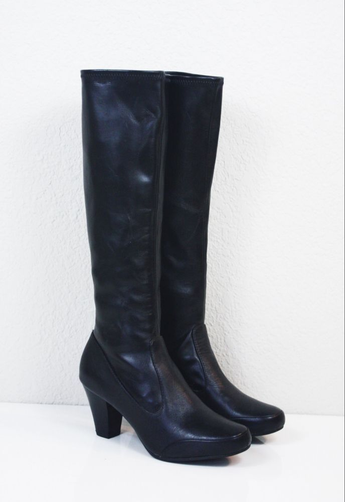 CLARKS STRETCH LEATHER BOOTS 6.5 Black