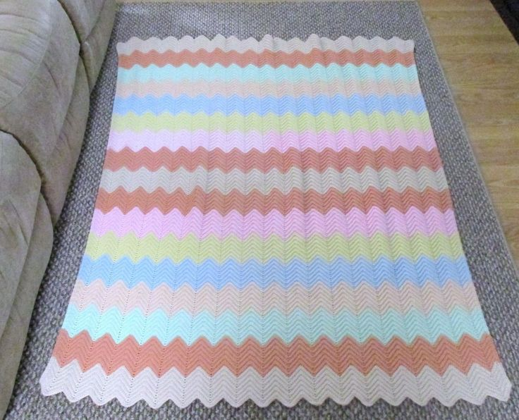 Handmade Crocheted Ripple Afghan Multi Colored  Warm Afghan Throw Blanket #Unbranded