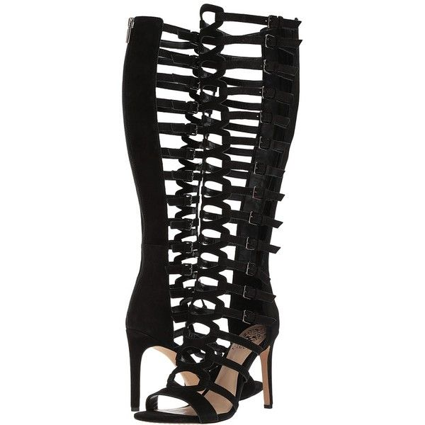 Vince Camuto Chesta (Black) Women's Shoes ($199) ❤ liked on Polyvore featuring shoes, sandals, black sandals, vince camuto sandals, caged gladiator sandals, black gladiator sandals and roman gladiator sandals