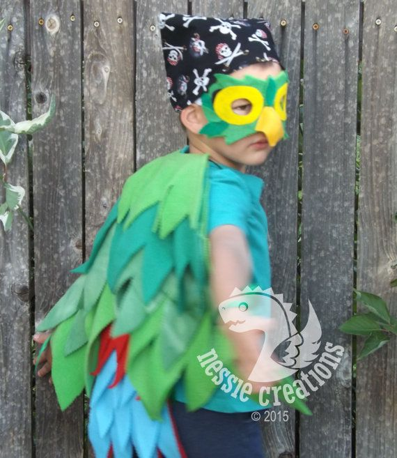 Green Parrot  Inspired by Jake and the Neverland Pirates Skully Parrot Play Costume Bird Wings with matching Headpiece   Halloween Parrot