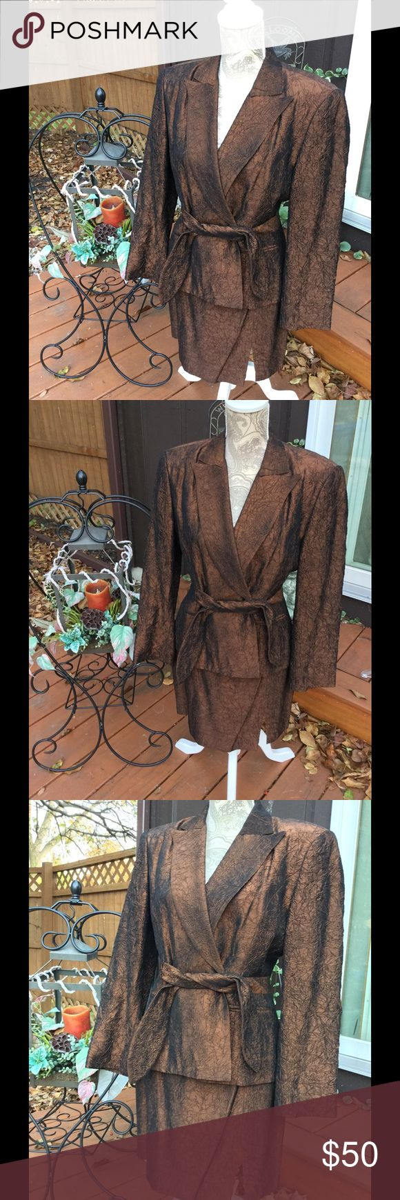 CACHE VTG WOMENS SKIRT SUIT SIZE 4 COPPER BEAUTIFUL VINTAGE CACHE WOMEN'S SKIRT SUIT.  THE COLOR IS IRIDESCENT DARK BROWN COPPER CRINKLED LOOKING MATERIAL.  THE SIZE IS 4. THE JACKET ALSO HAS AN ATTACHED BELT.  THE SKIRT HAS A ZIPPER IN BACK AND SLIT IN FRONT. Cache Other