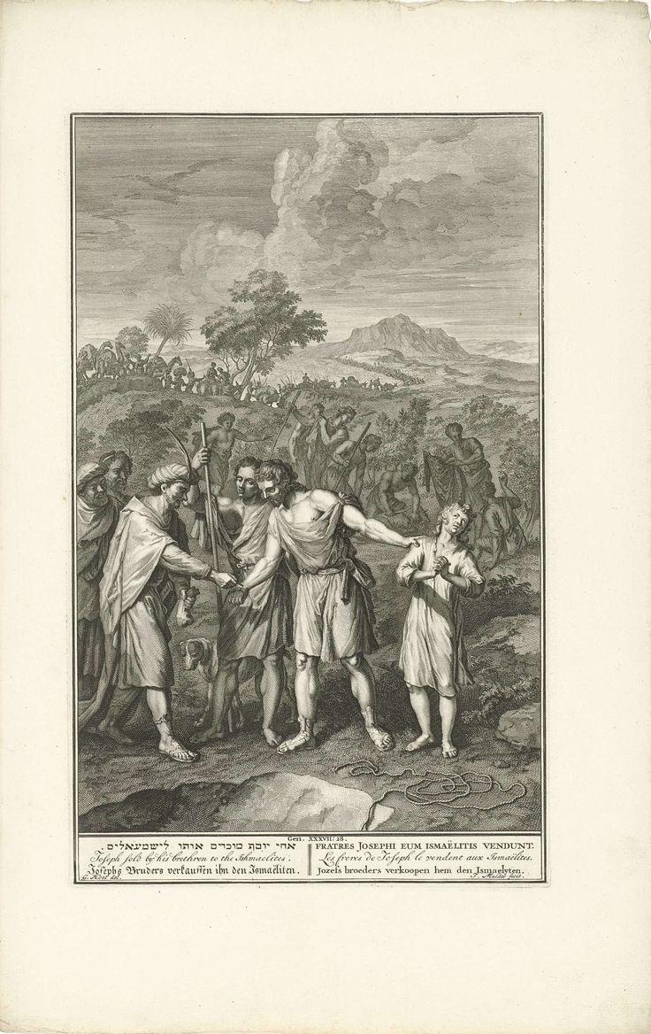 Joseph Mulder | Jozef door zijn broers verkocht, Joseph Mulder, 1720 - 1728 | Jozef wordt door zijn broers verkocht aan een groep Ismaëlieten. Op de voorgrond de put, waarin zijn broers hem gevangen hielden. Op de achtergrond wordt een bok geslacht om de jas van Jozef te kunnen besmeuren met bloed, zodat zijn vader zal geloven dat Jozef verscheurd is door wilde dieren. Onderaan in de marge een verwijzing naar de Bijbeltekst en de titel in het Hebreeuws, Engels, Duits, Latijn, Frans en…