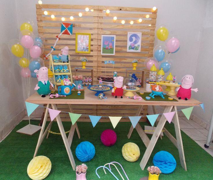 Sala arrumada para festinha Aniversário barato da Peppa Pig