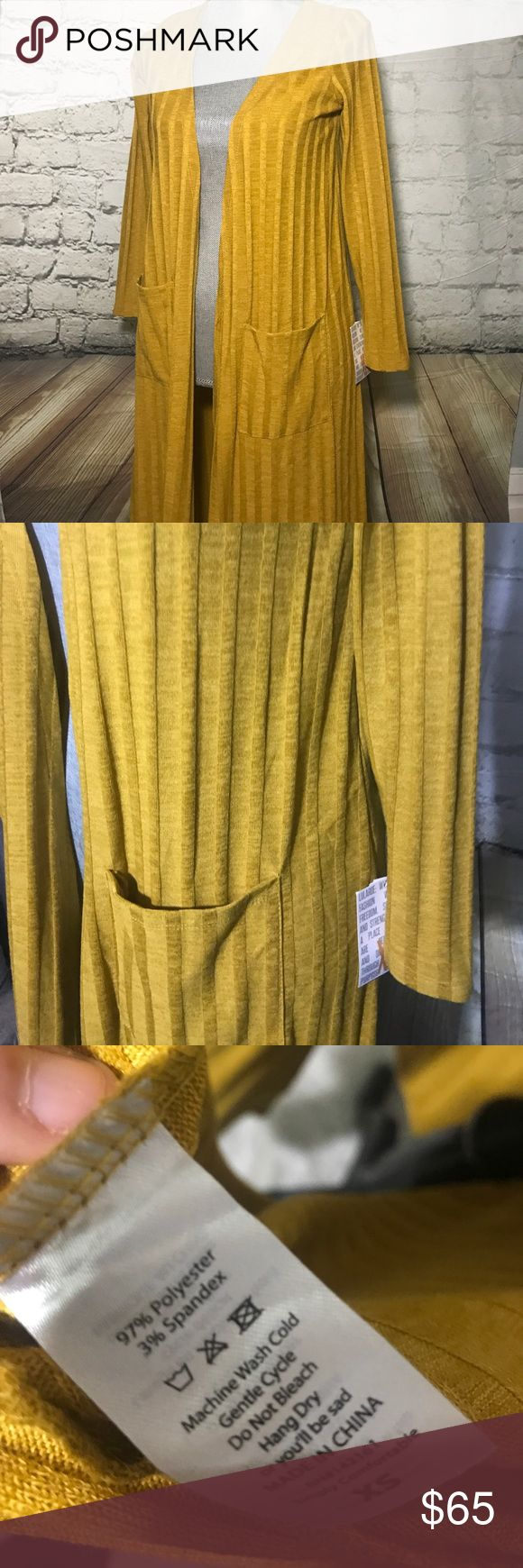 LulaRoe Sarah cardigan Beautiful mustard colored Sarah by LulaRoe. Brand new with tags. Price is firm. LuLaRoe Sweaters Cardigans