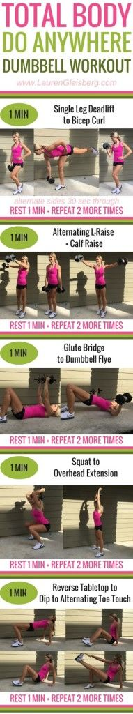 TOTAL BODY DO ANYWHERE DUMBBELL WORKOUT (home & gym) - Day 4 of the #LGFitmas Challenge  www.LaurenGleisberg.com