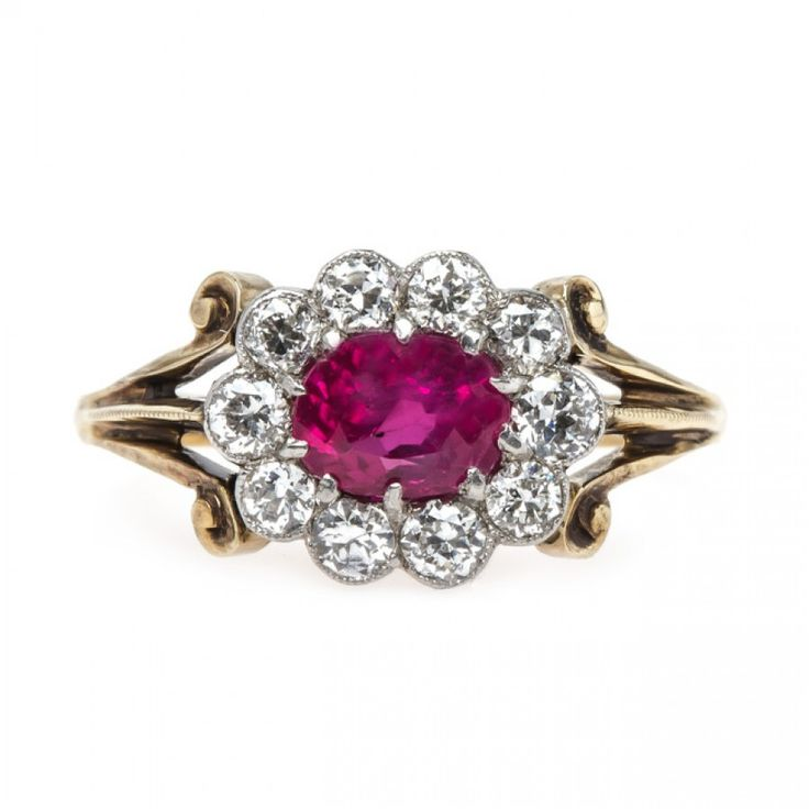 Natural Ruby Ring with Diamond Halo | Orchard Park