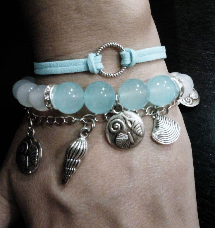Glass bead/shell bracelet
