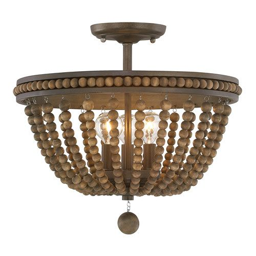 This elegant Handley 3 Light Semi Flush Fixture from Austin Allen and Co. is offered in Tobacco with Stained Wood Beads finish.