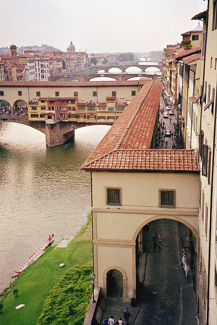 Florence - the Vasari Corridor, the private elevated passageway from the Pitti Palace over the Ponte Vecchio to the Uffizi. Built by Cosimo de Medici when he bought the Pitti Palace in 1564 so that he could travel safely and privately to his offices on the other side of the Arno River in what is now the Uffizi Museum.