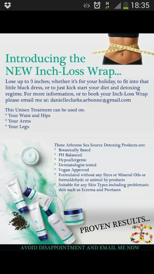 Inch-Loss Wrap with our SeaSource Detox Line! To send an order, book a party or be a part of my team, contact me anytime! www.natalieduguay1.arbonne.com | natalieduguay@hotmail.ca