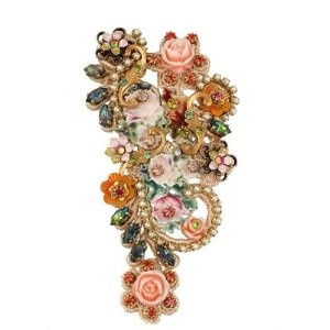 Michal Negrin Brooch Embellished with Vintage Roses, Hand Painted Flowers and Formatted Metal Print with Roses, Adorned with Green, Red, Beige Marquise, Round Swarovski Crystals and Beads; Vintage Style