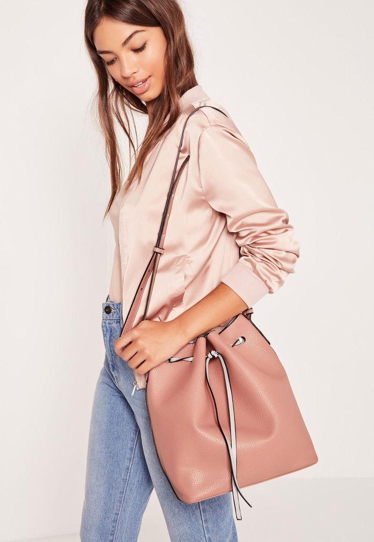 Missguided - Drawstring Bucket Bag Blush Pink