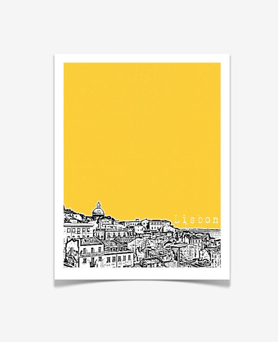 Lisbon Portugal Poster City Skyline Art Print by BugsyAndSprite