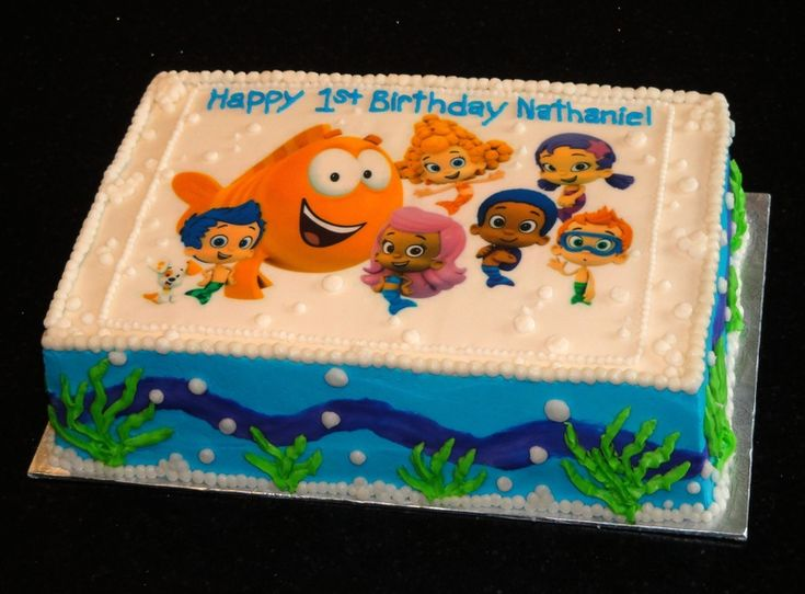 Bubble Guppies - Because the top of this is an edible printout of the characters, I can't make it look exactly the same - but it's a cake idea/inspiration nonetheless!