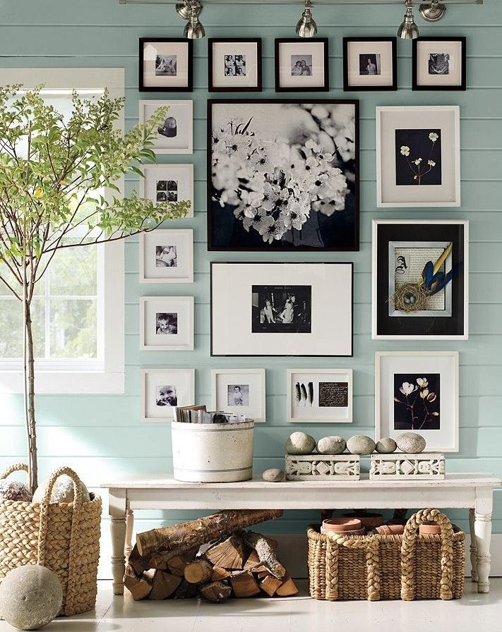 picture frame wall...I like that they actually mixed frame colors...keeps it light and airy w/out all the black...nice.: Interior, Ideas, Wall Color, Living Room, Photo Wall, Gallery Wall