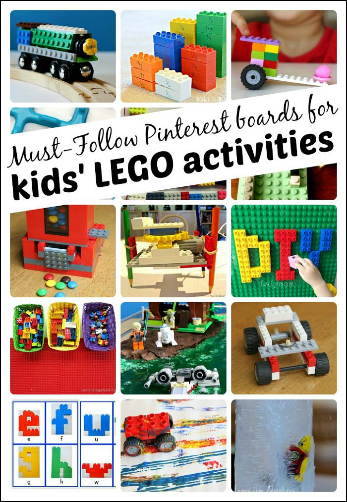 Must-follow Pinterest boards for kids' LEGO activities - lots of learning activities for kids of all ages