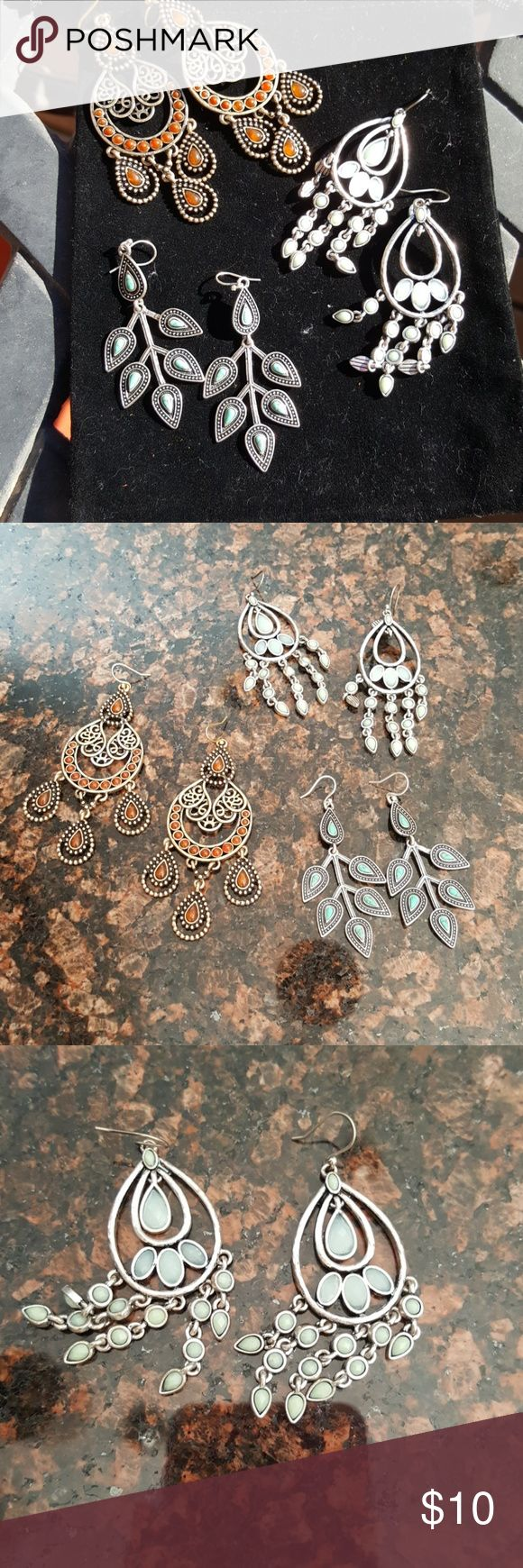 Lucky Brand earrings 2 pair. 2 silver 1 bronze. 3 for $10 The stones are a light blue in the silver dangles Lucky Brand Jewelry Earrings