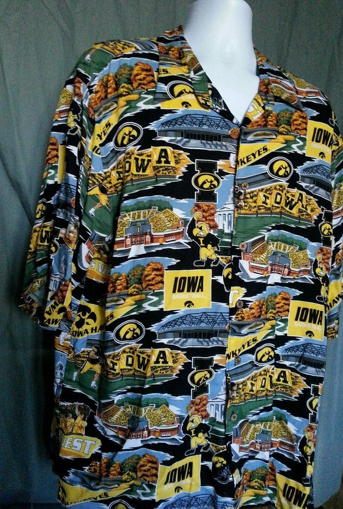 Reyn Spooner Tropical College Scenic Iowa Hawkeyes Basketball Hawks Shirt XXL | Stuff to Buy
